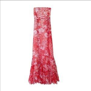 Anthro Deletta 100% Silk Orange Floral Maxi Dress